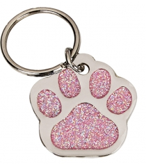 Glitzy Paw Shaped Pet Tag 28mm Diameter