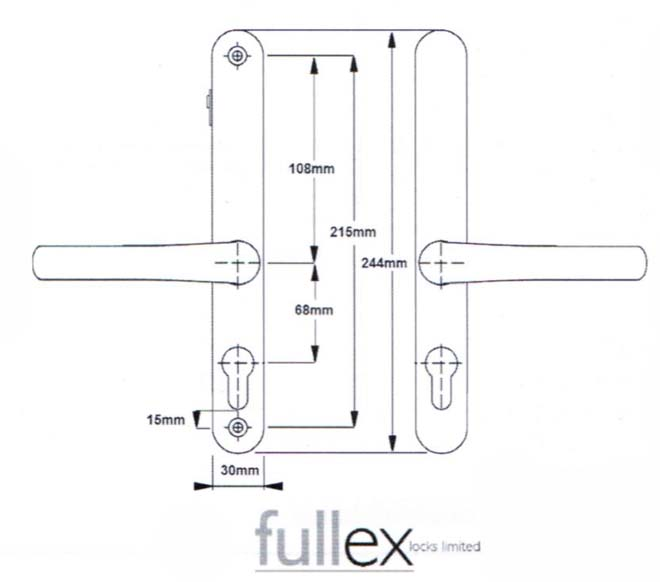 Fullex Lever Lever Door Handle 68mm Centres With Snib